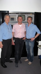 At AVP Video-Transfer GmbH. Left to right: Dieter Sandl Sr., Karl Kolar, Christian Sandl (CEO)